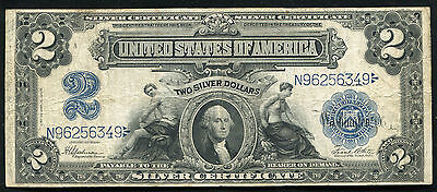 """Fr. 258 1899 $2 Two Dollars """"Mini Porthole"""" Silver Certificate Very Fine"""