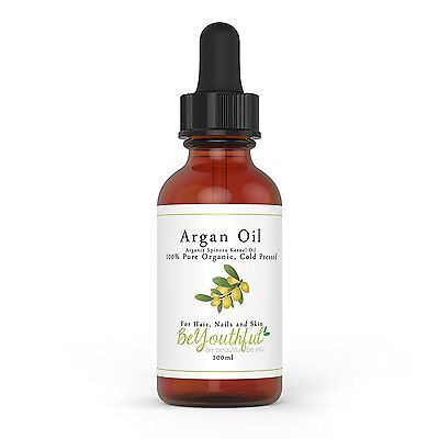 Pure Argan Oil 100ml - 100% Cold Pressed Organic Moroccan Oil For Face Hair