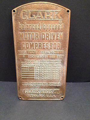 Clark Bros Co Copper Sign Compressor Badge advertising Collectible Steam Engine