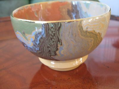 Bowl With Gold Edging-Marble Effect Pattern