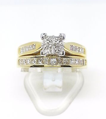 18ct Yellow Gold Princess Cut Invisible Setting Engagment & Wedding Ring Set