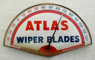 Rare Atlas Wiper Blades Advertising Thermometer Sign With Glass Cover