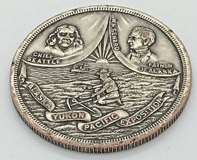 Souvenir AYPE Alaska Yukon Exposition Seattle 1909 Medal Chief Seward HK 363a