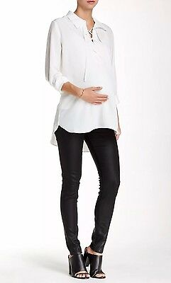 New PAIGE 'Verdugo' Ultra Skinny Maternity Jeans Black Coated SIZE 25 $199