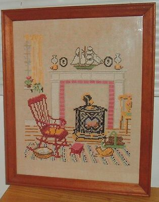 Vintage Country Home Living Room Cross Stitch Framed