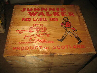 Vintage Johnny Walker Red Label Whiskey Wooden Dove Tail Shipping Crate Box