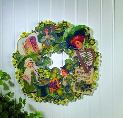 """New 14"""" Wooden Die-Cut Green Wreath With Vintage Images St. Patricks Day"""