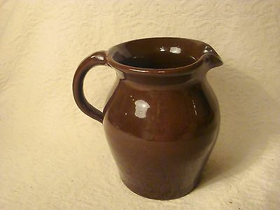 Vintage Brown Pottery Milk Pitcher Jug W/Applied Handle Unmarked