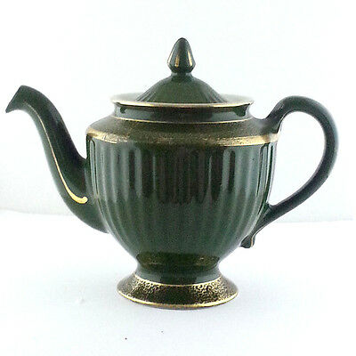 Antique 1926 Hall China Teapot Green and Gold  6 Cup #081 Collectible Pottery