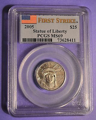 2005 P$25 Statue of Liberty Platinum American Eagle MS69 PCGS FIRST STRIKE