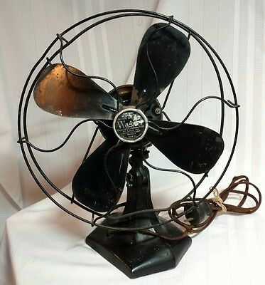 "Antique Wagner Electric 10"" Fan 4 Blades Model L515A1006 Series S"