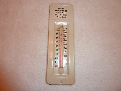 """Vintage  1950's """"phillips Chevrolet Co.""""   Troup, Texas  Thermometer"""