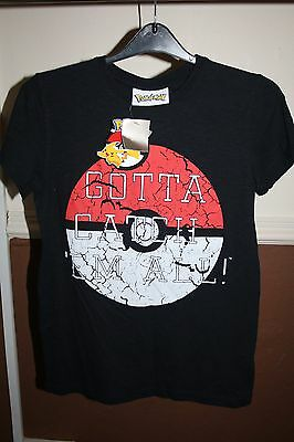 """Pokemon """"Next"""" Black Boys age 12 t shirt new with tags"""