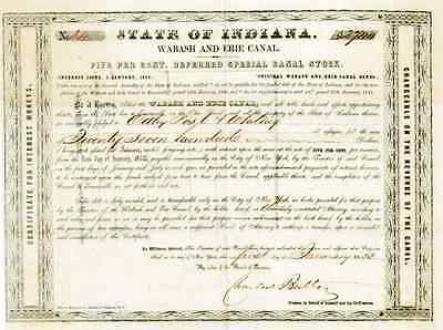 1853 State of Indiana Wabash & Erie Canal Bond Certificate