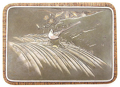 Vintage Japanese Mixed Metal Plaque Signed Bird Shibuichi Gold Silver Box Top