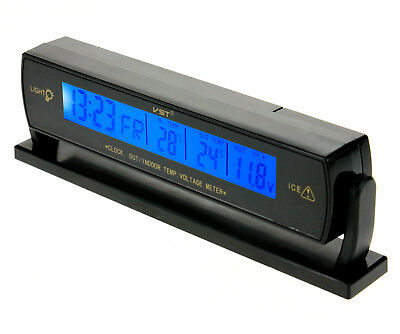 New 12V Ciga Port Snooze Alarm Clock Temperature Digital Car Voltage Monitor