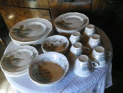 "1940s Vintage ALFRED MEAKIN Dinner Set-""Father Thames""-33 pieces-near new"