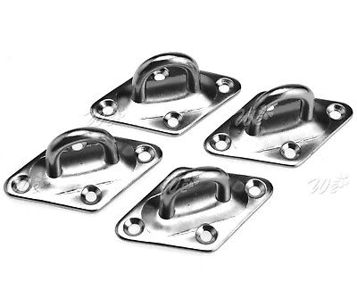 4 x Pad Eye Plate Diamond Shaped 6mm 304 Stainless Steel