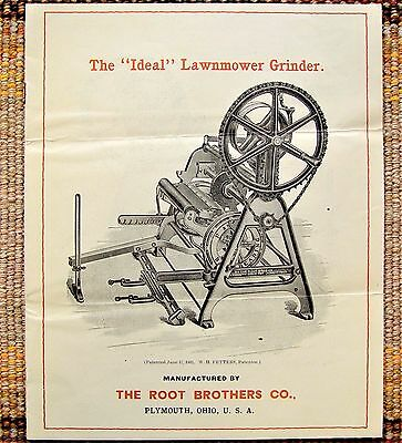 1906 EXLNT COND Root Brothers Ideal Lawnmower Grinder Brochure Plymouth OH Ohio