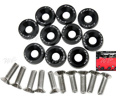 10 x M6 Fender Washers JDM Style License Plate Bolts Washer Kits Black Aluminum