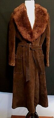 Genuine Suede Leather 70s Vintage Long Shearling Coat Womens Medium Boho Hippie