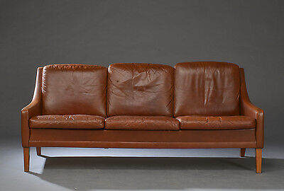VINTAGE RETRO DANISH RUD THYGESEN 3 SEATER LEATHER AND ROSEWOOD SOFA 1970s
