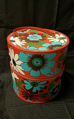 Beautiful Vintage LARGE Floral Tapestry Wig Case Hat Box Travel Suitcase Zipper