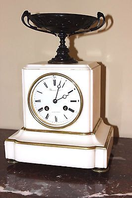 Beautiful French Marble & Bronze Mantel Clock Japy Freres 1855