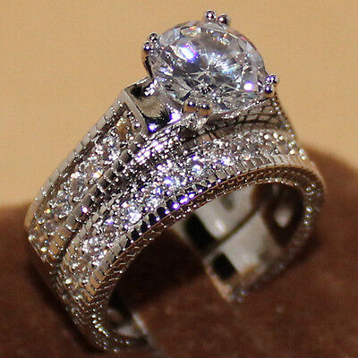 Sz 9/S Handmade Eternity Lovers 925 Silver White Sapphire Wedding Band Ring Set
