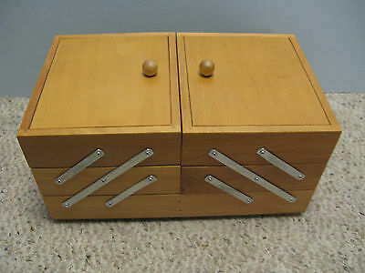 Vintage Wooden Expandable Sewing / Jewelry Box