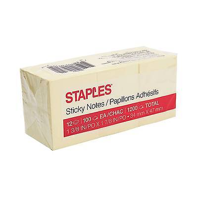"""Staples Stickies""""¢ Recycled Notes, 1.5"""" x 2"""", Yellow, 12 Pads/Pack (S-152YR12)"""