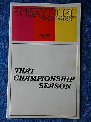 That Championship Season - Booth Theatre Playbill - July 1973 - Charles Durning