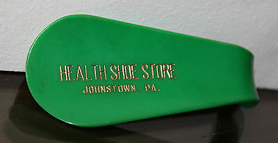 Vintage Shoe Horn Health Shoe Store Johnstown Pa Green Plastic Advertising