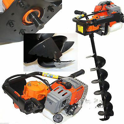 "52cc 2.3HP Powered Gas Post Hole Digger Earth Digger Auger W/ 6"" Bits Drill MC"
