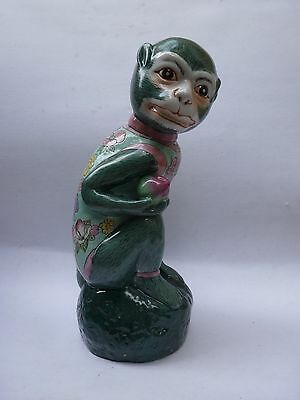 Vintage Chinese Famille Rose Monkey w/ Peach Statue