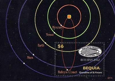 BEQUA 2007 SOLAR SYSTEM PLANETS S/S HALLEY´S COMET LOGO = SPACE &  astronomy MNH