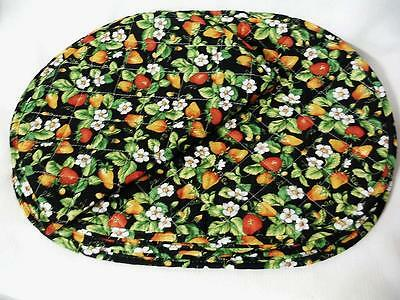 "Strawberry Place Mats Black with Orange Red Berries Quilted Cotton 18"" x 13 4Pc-"