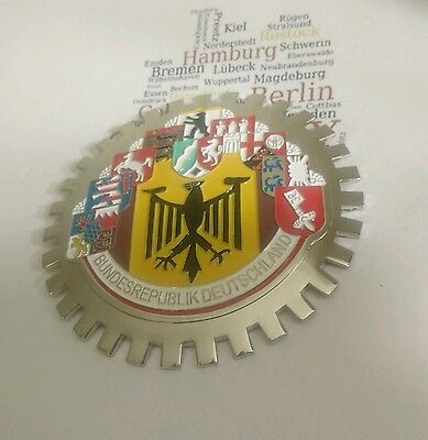 2x Deutschland CAR  GRILLE  BADGE - GERMANY 10 CITIES Emblems (lot of 2)