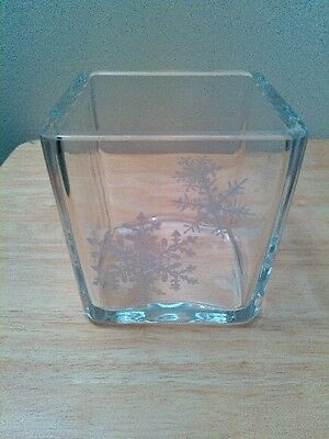 """Avon 1984 Happy Holidays square glass vase or candle holder, 3.5"""""""