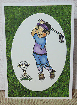 Handmade  Greeting Card Birthday Gift Any Occasion Golf