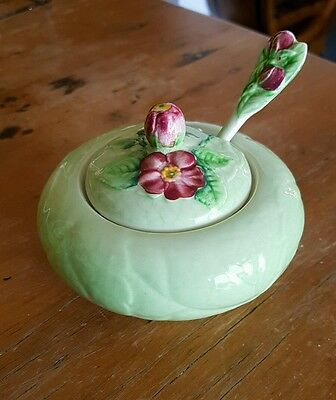 Carlton Ware Green Wild Rose Sugar Bowl and Spoon