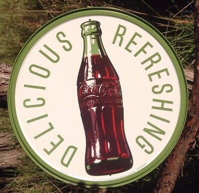 COKE Coca Cola Sign Tin Vintage Garage Bar Decor Old Round 1960s Bottle Logo