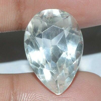 14.85 Cts.100% Natural Chrystal Quartz Faceted Cut Pear Loose Gemstone Brazil