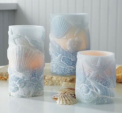 Set of 3 Lighted Flameless Seashell Candles