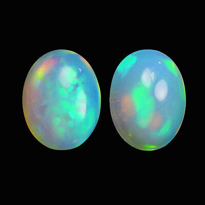 2.25Cts 2Pcs Natural Welo Ethiopian White Opal Fire Play Oval Cabochon Gemstone