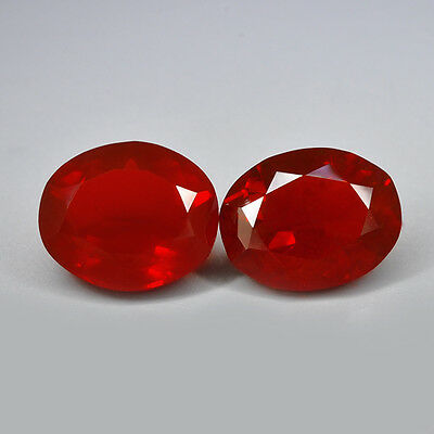 2.16Cts 2Pcs Natural Mexican Fire Opal Orange Red Colour Gemstone Fancy