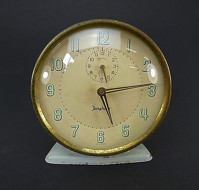 Vintage Jungans Made Alarm Clock Retro Blue Ticking Made In Germany