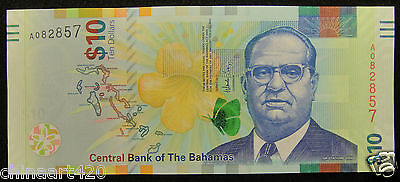Bahamas Paper Money 10 Dollars 2016 UNC