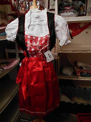 German,Trachten,Oktoberfest,Dirndl Dress,3-pc.Sz.4.Red,Silver,Black,White