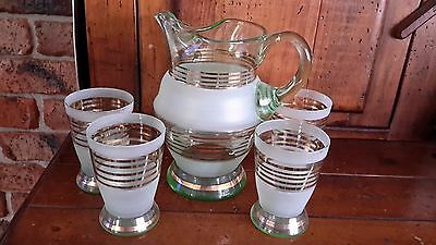Vintage Green Tint/ Frosted Glass With Gilt Pitcher/jug And 4 Glasses Set